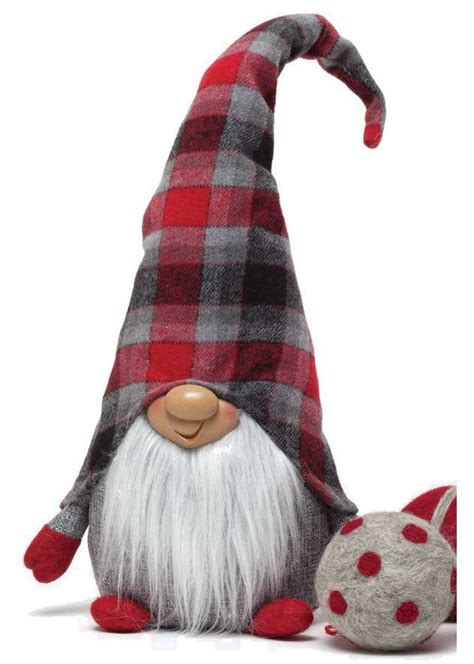 scottish redgrey plaid gnome happy grey  scottish plaid