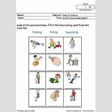 Primaryleapcouk  Pushing, Pulling And Squeezing 1 Worksheet  Yang Dipakai  Pushes, Pulls