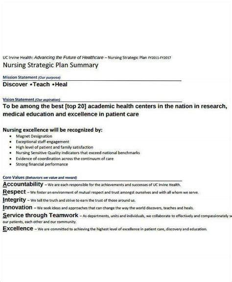 nursing strategic plan templates