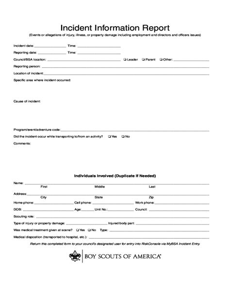 incident report form fillable printable
