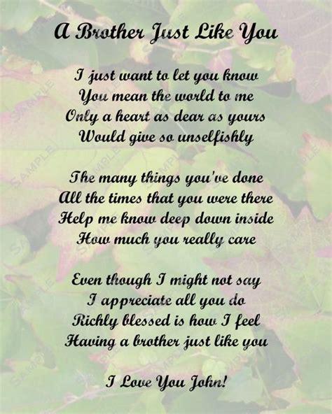 lost  brother poems brother poem love poem digital instant   sale nick