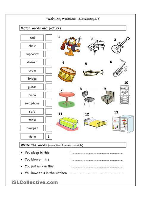 vocabulary matching worksheet elementary 2 4 musical