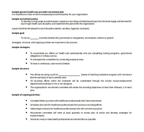 sample recruiting plan template   documents