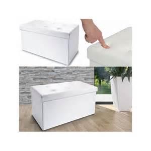 banc coffre rangement pvc blanc 76x38x38 cm pliable meubles et