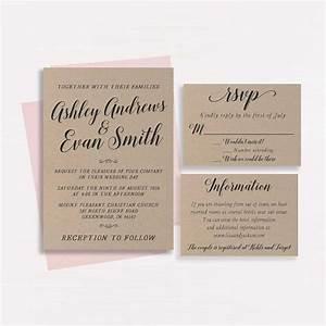 kraft wedding invitation printable wedding invitation With printing wedding invitations on kraft paper