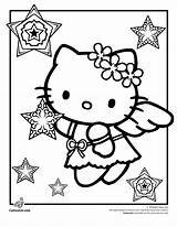 Kitty Coloring Hello Pages Christmas Angel Snow Cool Printable Halloween Pool Swimming Tea Party Clip Cartoon Colouring Characters Cartoonjr Fun sketch template