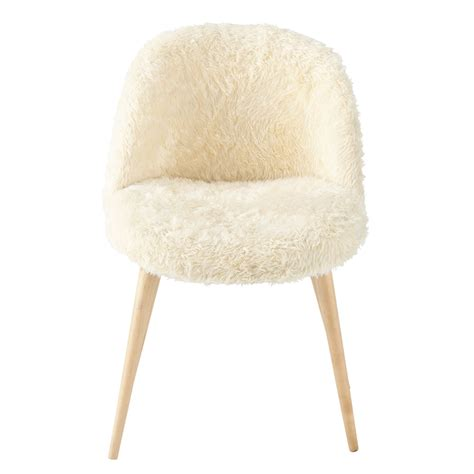 chaise scandinave vintage faux fur and solid birch vintage chair in ivory mauricette