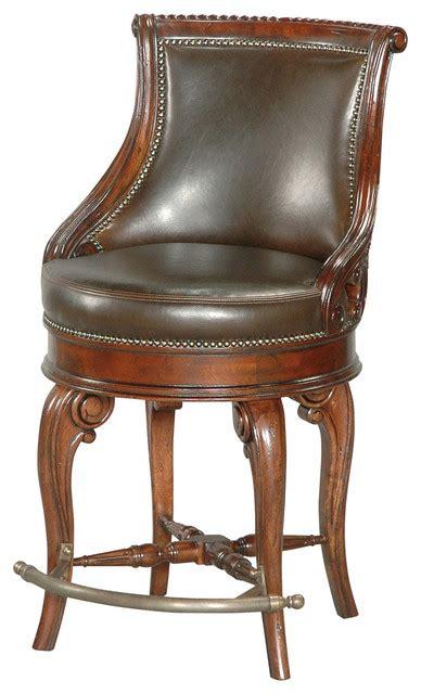 tatum swivel counter stool leather traditional