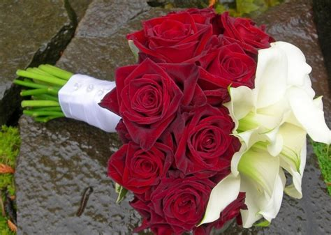 Wedding Bouquet Red Roses White Calla Lilies