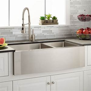 36quot Ackerman 6040 Offset Double Bowl Stainless Steel