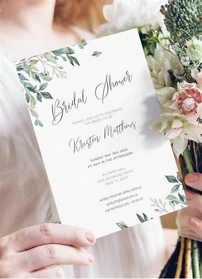 Shower Bridal Leaves Invitation Invitations Printable Template