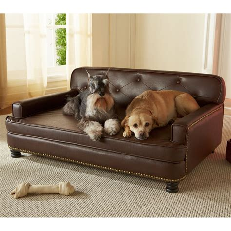 pet bed enchanted home pet library sofa pet bed brown pebble