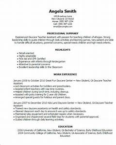 professional daycare teacher assistant templates to With daycare resume examples