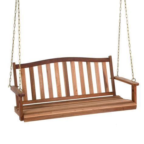 Wood Porch Swing Bench Outdoor Patio Deck Yard Hanging