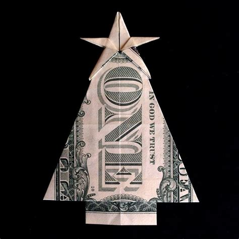 christmas tree with star gift money origami made out of