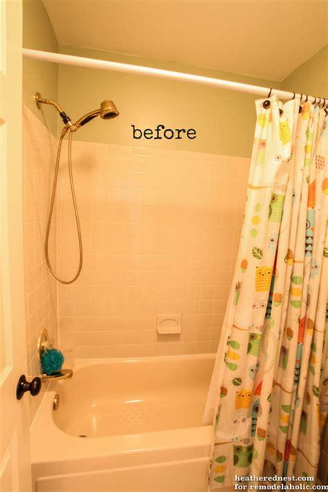 remodelaholic   update  tile shower tub   weekend