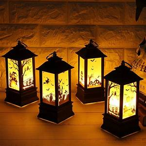 Mrosaa, 1pcs, 20x8cm, Halloween, Pumpkin, Witch, Skull, Hand, Table, Led, Light, Simulation, Flame, Lamp