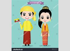Myanmar Boy Girl Traditional Costume Stock Vector