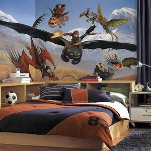 New XL HOW TO TRAIN YOUR DRAGON PREPASTED WALLPAPER MURAL ...