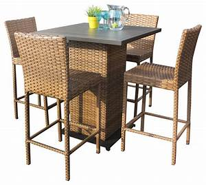 Tuscan Pub Table Set With Barstools 5 Piece Outdoor Wicker
