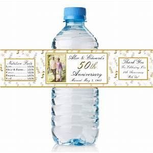 50 personalized 50th anniversary water bottle labels with With 50th anniversary water bottle labels