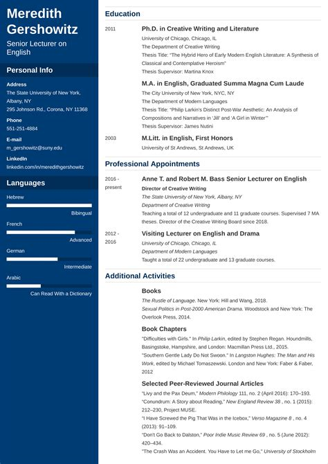 Get hired with the professional resume builder that will make you stand out of the crowd! Academic CV Template—Examples, and 25+ Writing Tips