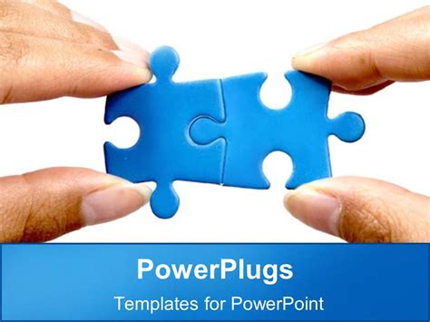 powerpoint template  blue puzzle pieces fit