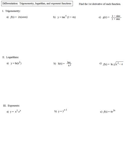 Exponential And Logarithmic Functions Worksheet Pdf  Kidz Activities