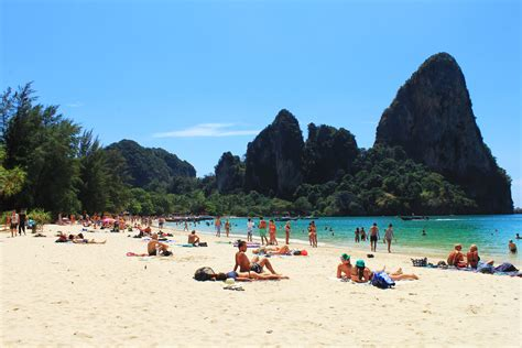 Soaking Up The Sun On Railay Beach Krabiaonang Thailand