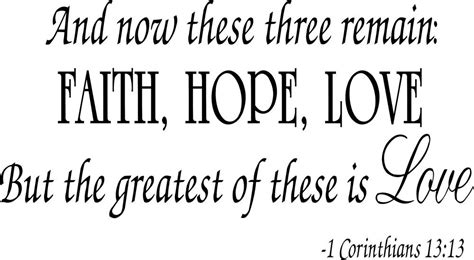God's love letter to us breathes grace, strength, hope, and peace. Buy Faith Hope Love Corinthians Wall Quote Decal Scripture Bible Verse Quotes Vinyl in Cheap ...