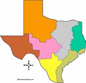 Natural Features Of Texas  Outline Map Unlabeled Color