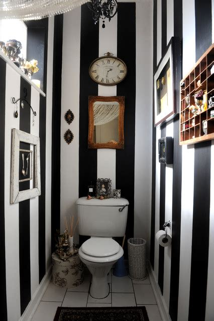 guest bathroom stripes eclectic powder room other