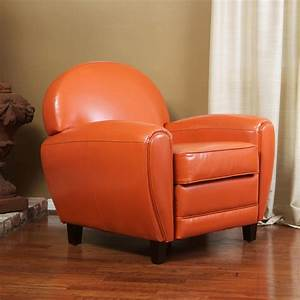 Hayley burnt orange leather club chair contemporary for Orange living room chairs