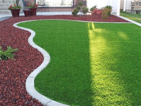 artificial grass landscaping ideas finished front yard synthetic grass lava rock