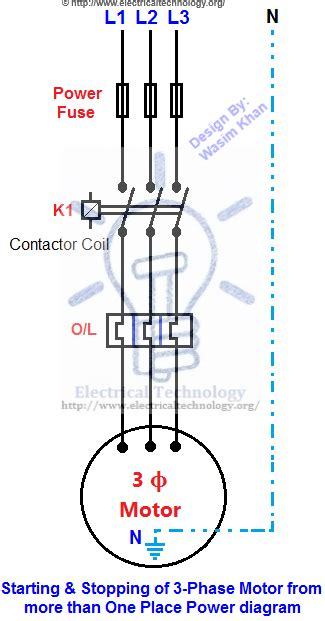 3 Pole Push Button Diagram by Starting Stopping Of 3 Phase Motor From More Than One