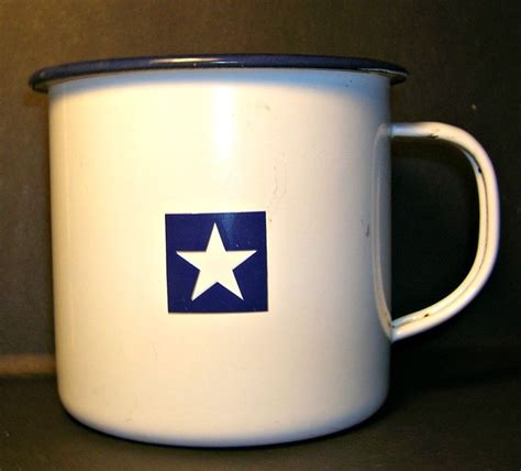 Check out our tin coffee cup selection for the very best in unique or custom, handmade pieces from our mugs shops. Williams Sonoma Tin Mug Cup White with Blue Star #WilliamsSonoma (With images) | Mugs, Mug cup ...