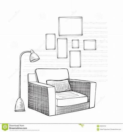 Sketch Interior Drawn Chair Comfortable Decoration