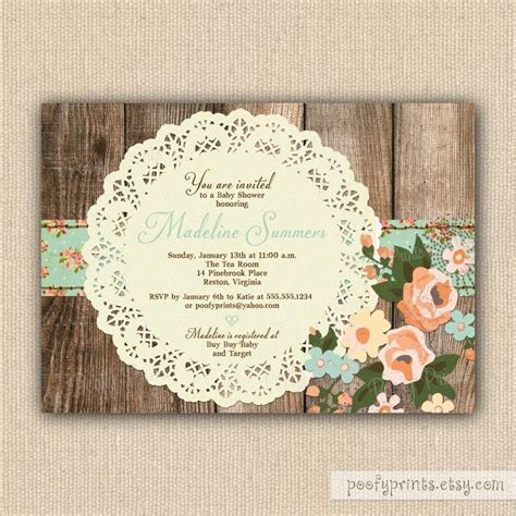 shabby chic baby shower invites rustic shabby chic baby shower invitations diy printable baby shower invitations 24 00 via