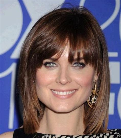 wispy bangs  women  square face shape hairstyle ideas