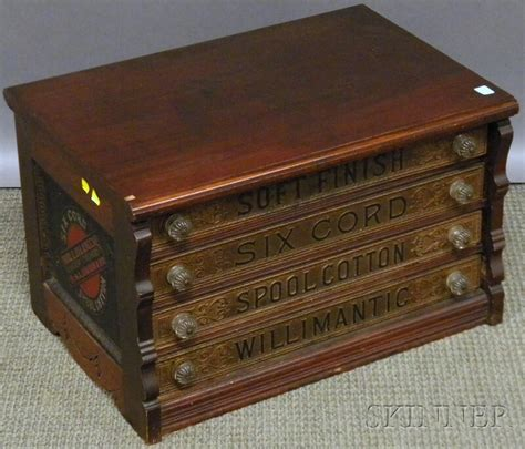 willimantic walnut four drawer retail counter top spool