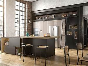 Cuisine noir c39est noir la tendance qui monte joli place for Idee deco cuisine avec meuble salle a manger en bois