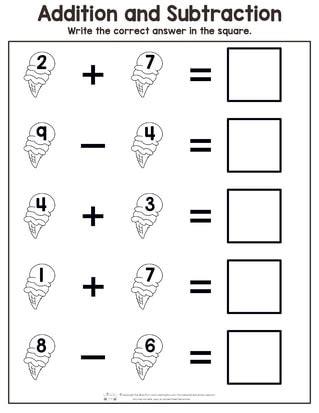 summer addition  subtraction worksheets itsybitsyfuncom