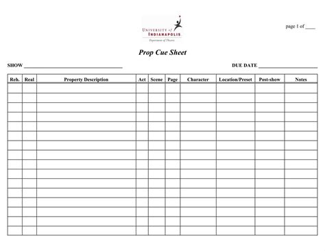 stage lighting cue sheet template sletemplatez
