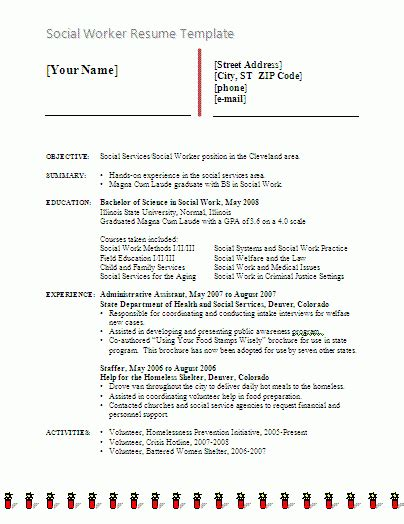 social worker resume template  word templates