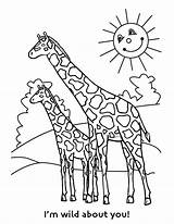 Giraffe Coloring Pages Printable Animals African Cartoon Getcoloringpages sketch template