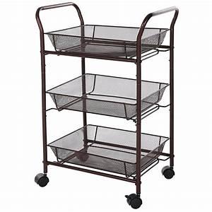 Bathroom trolley rolling kitchen storage cart baskets on for Bathroom cart on wheels