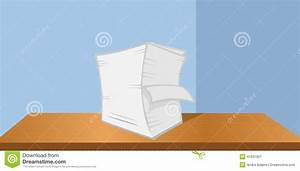 Stack of papers on desk stock illustration. Image of wall ...