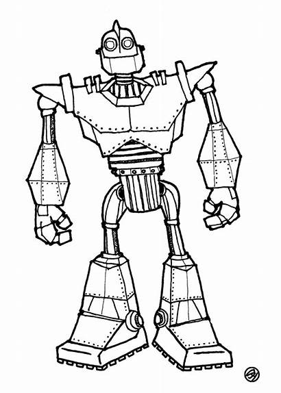 Giant Iron Coloring Pages Power Sketch Robot