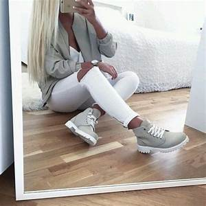 Grey Jacket White Ripped Jeans Timberlands Dope Jacket