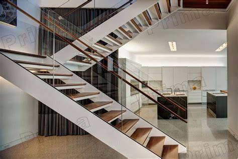 customized tempered glass interior stair railing custom u shaped staircase with tempered glass railing